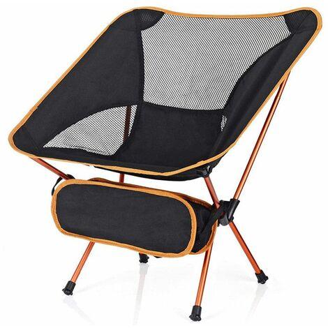 Chaise pliante de camping légère portable siège de plage tabouret de pêche chaise de loisirs charge maximale 150 kg voyage de randonnée (orange)