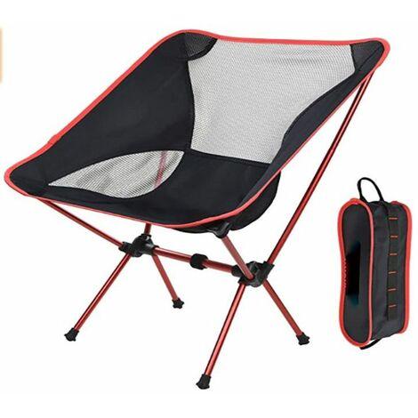 Chaise pliante de camping légère portable siège de plage tabouret de pêche chaise de loisirs charge maximale 150 kg voyage de randonnée (rouge)