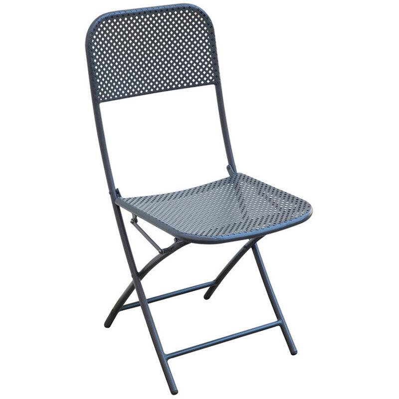 Chaise pliante de jardin en fer forgé coloris gris anthracite - Dim : 89 x 40 x P 57 cm