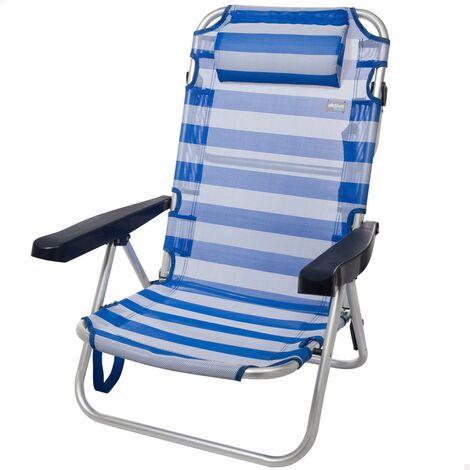 Chaise pliante de plage en aluminium multiposition, 108 x 60 x 82 cm, beige Aktive 53975