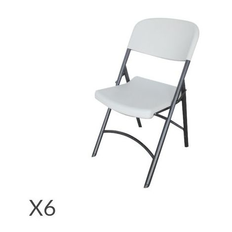 Chaise pliante de réception polyéthylène Blanc Lot de 6