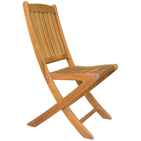 Chaise pliante en acacia coloris naturel - Dim : H92 x L58 x P45 cm - PEGANE -