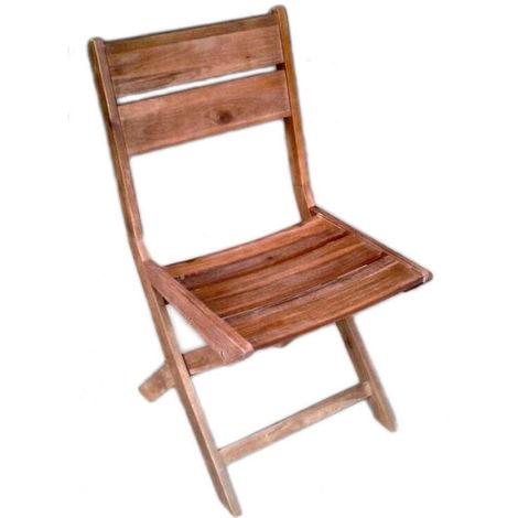 Chaise pliante en acacia vielli coloris naturel - Dim : 46 × 56 - H 90 cm - PEGANE -