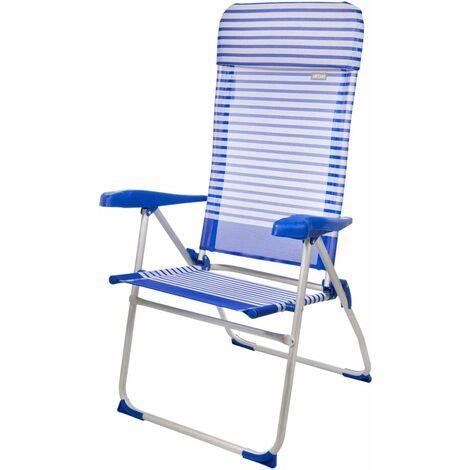 Chaise pliante en aluminium avec coussin, Beach - 7 positions, Bleu, 67 x 64 x 118 cm Aktive 53982