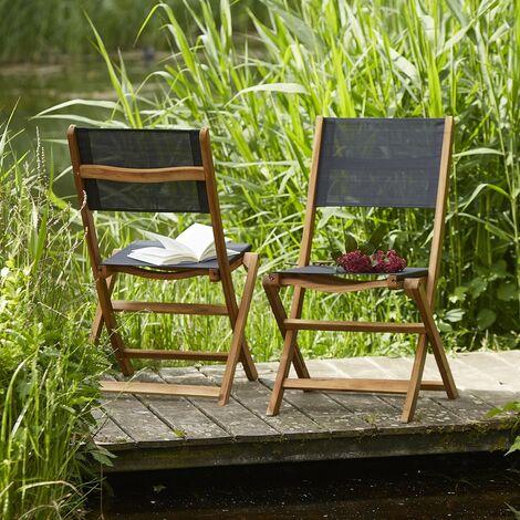 Chaise pliante en bois d'acacia et textilène (lot de 2)