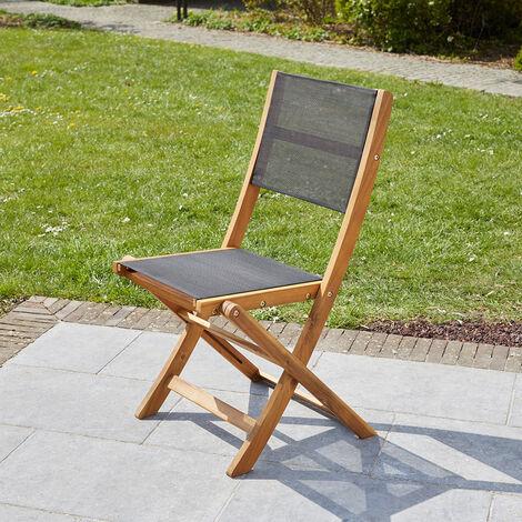 Chaise pliante en bois d'acacia et textilène noir