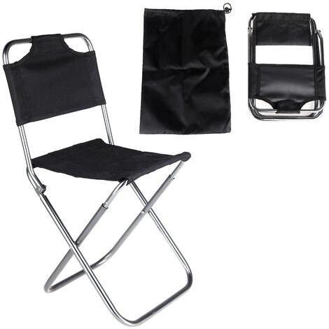 Chaise Pliante En Tissu Oxford En Aluminium, Peche En Plein Air, Noir