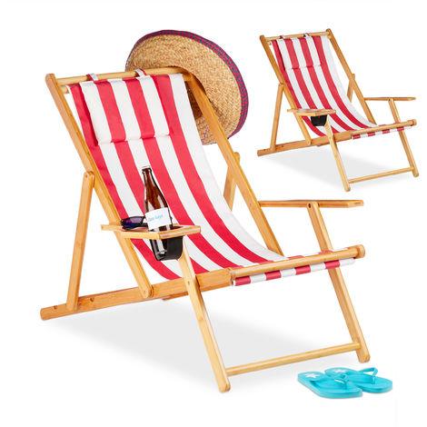 Chaise pliante lot de 2 en bambou tissu chaise de jardin balcon plage porte boissons porte verre, rouge