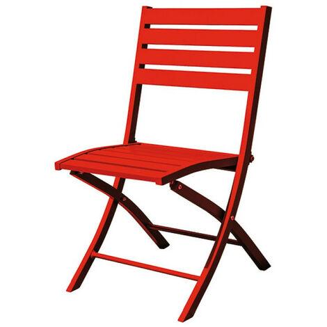 Chaise pliante marius alu - rouge