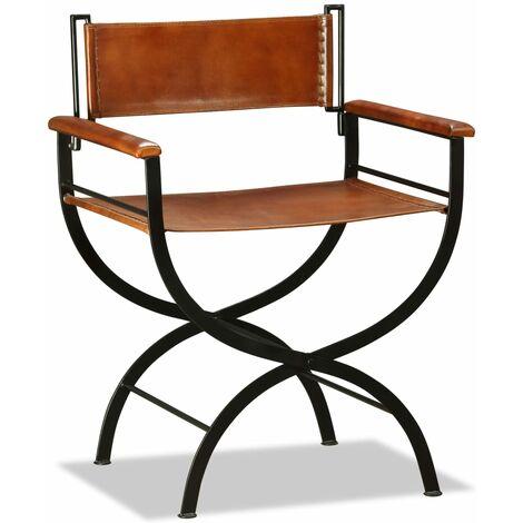 Chaise pliante Noir et marron Cuir véritable