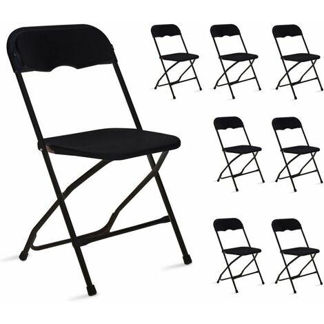 Chaise pliante noire Lot de 8 Réception, jardin 103712