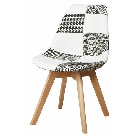 Chaise POULE patchwork style scandinave Bicolore - Multicolore