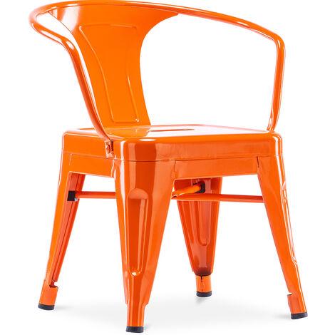 Chaise pour enfant de style Tolix - avec accoudoirs - Métal Vert