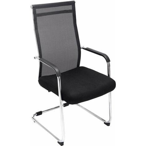 Chaise pour visiteur fauteuil de bureau avec accoudoirs noir pieds chromé
