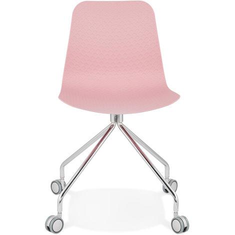 Chaise rose en plastique et métal - L47 x L49 x H80 cm - USAGE PROFESSIONNEL -PEGANE-