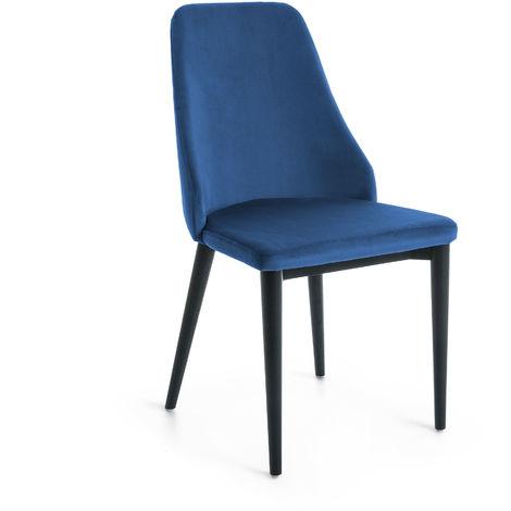 Chaise Rosie en velours bleu