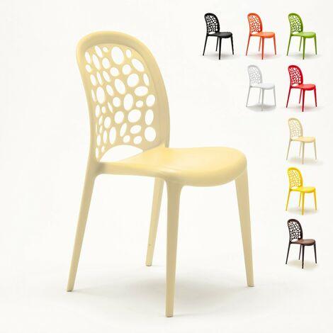 Chaise Salle A Manger Cafe Bar Restaurant Jardin Polypropylene Empilable Design WEDDING HOLES MESSINA