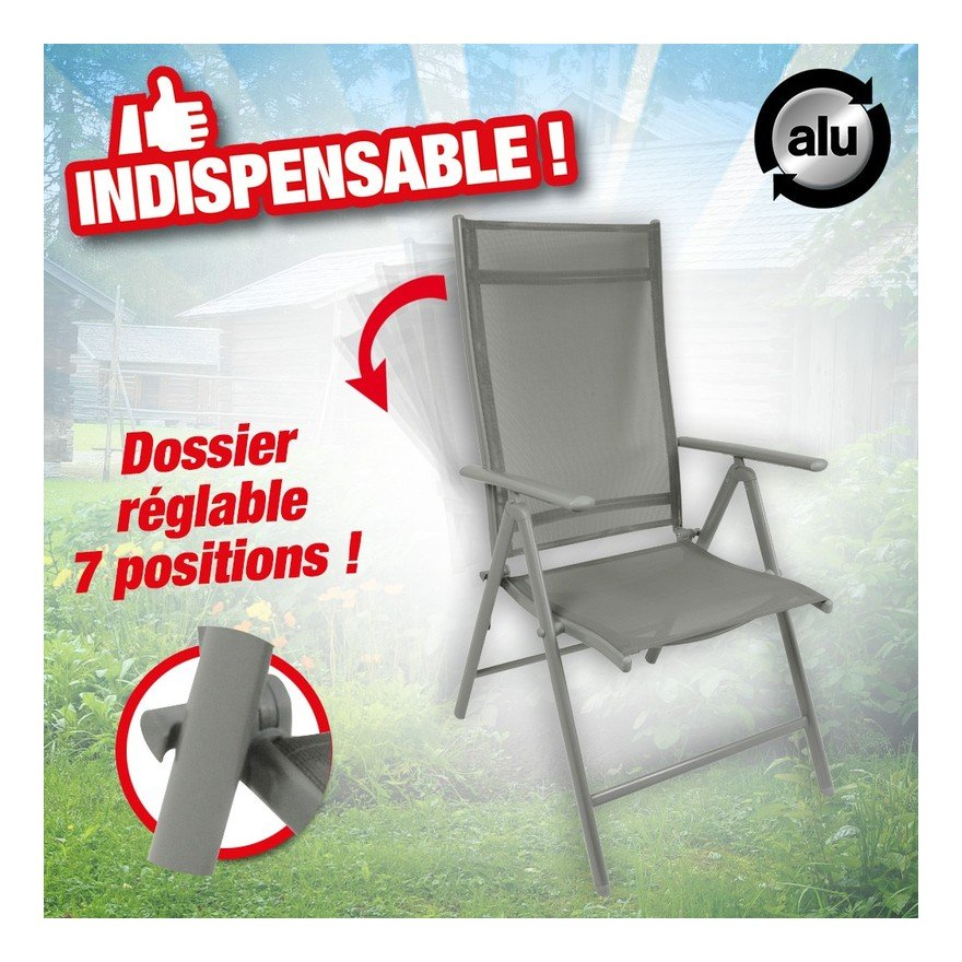 Chaise Santiago 7 positions d'assise, structure alu