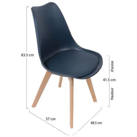 Chaise scandinave avec coque rembourrée - Bleu