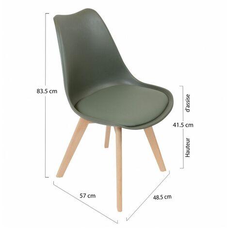 Chaise scandinave avec coque rembourrée - Vert - Livraison gratuite