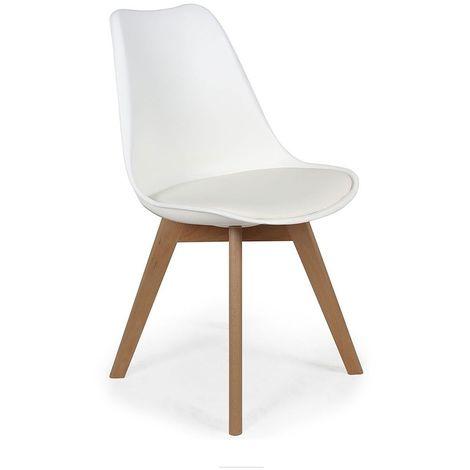 Chaise scandinave avec cousin Cocooning - Blanc - Blanc