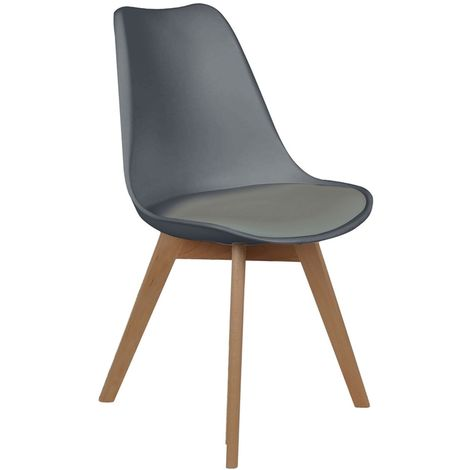 Chaise scandinave avec cousin - H. 83 cm - Gris - Gris