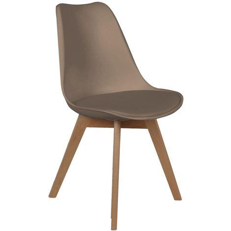 Chaise scandinave avec cousin - H. 83 cm - Taupe