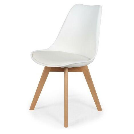 Chaise scandinave avec coussin Blanche