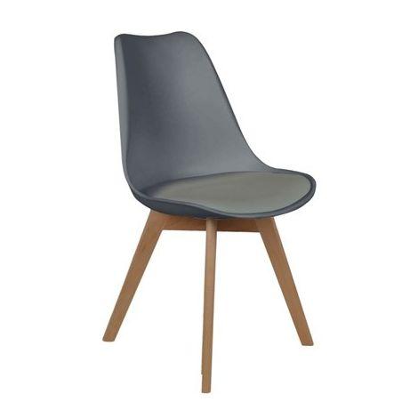 Chaise scandinave avec coussin Gris