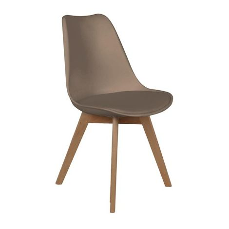 Chaise Scandinave Avec Coussin Taupe Home Deco Factory