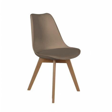 Chaise scandinave avec coussin - Taupe - Livraison gratuite