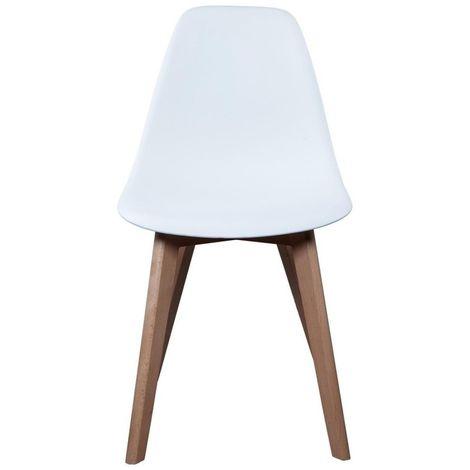 Chaise Scandinave avec pieds en bois - Blanc