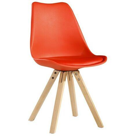 Chaise scandinave avec pieds en bois rouge