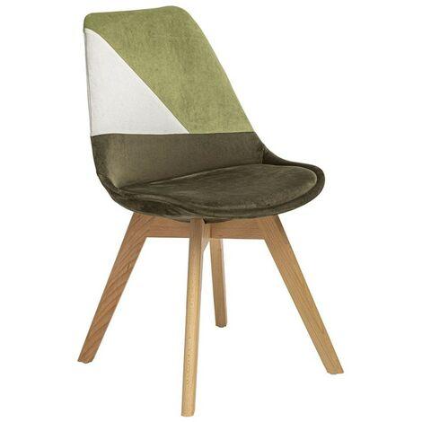 Chaise scandinave Baya patchwork kaki - Vert