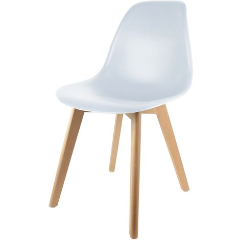 Chaise scandinave Coque - H. 83 cm - Blanc - Blanc