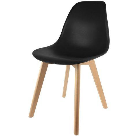 Chaise scandinave Coque - H. 83 cm - Noir - Noir