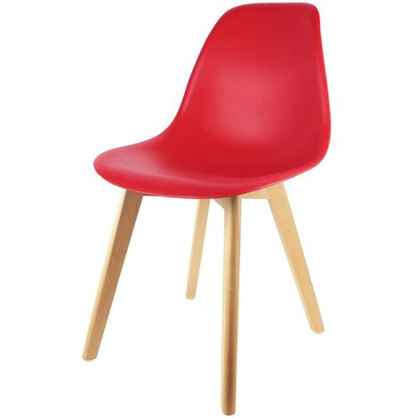 Chaise scandinave coque rouge