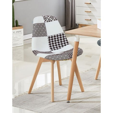 Chaise Scandinave en Tissu Patchwork - Coloris Noir & Blanc - Salle à Manger, Cuisine, Bureau