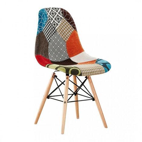 Chaise Scandinave en Tissu Patchwork - Pieds Eiffel - Salle à Manger ou Cuisine