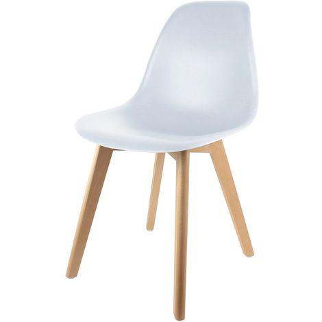 Chaise scandinave enfant - H. 56,5 cm - Blanc - Blanc