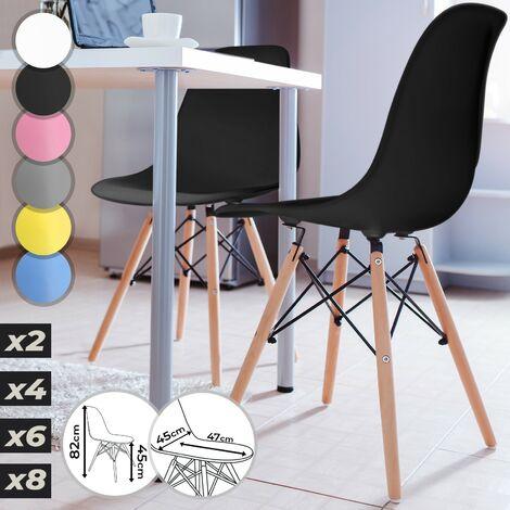 Chaise Scandinave Noir Lot de 2 4 6 8 Chaise Eiffel Contemporain Salle à Manger Salon Restaurant Cuisine