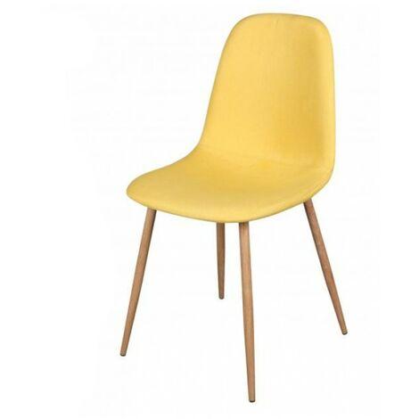 Chaise scandinave Oslo en tissu jaune - Jaune
