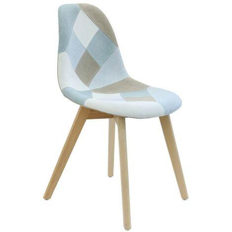 Chaise scandinave patchwork bleu clair - Bleu