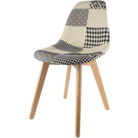 Chaise scandinave Patchwork - H. 85 cm - Noir et blanc - Blanc