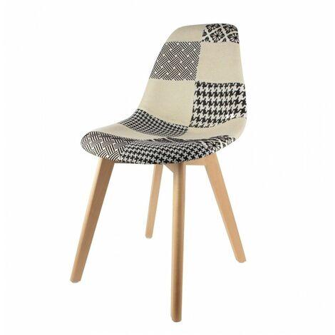 Chaise scandinave - Patchwork - Noir et Blanc - Livraison gratuite