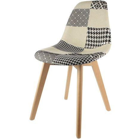 Chaise scandinave patchwork noir et blanc - Multicolore