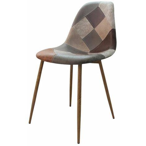 Chaise scandinave patchwork Oraz brun - Marron