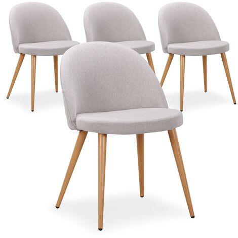 """main image of """"Lot de 4 chaises scandinaves Maury tissu Jaune - Jaune"""""""