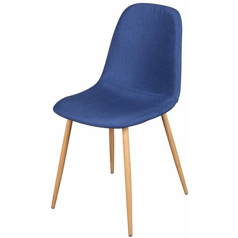 Chaise scandinave tissu Oslo bleu - Bleu