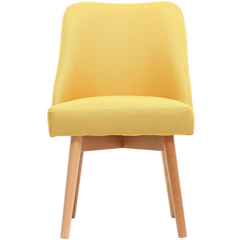 Chaise scandinave tissu pieds bois LIV